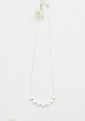 ceramic short necklace + 1 plated gold heart
