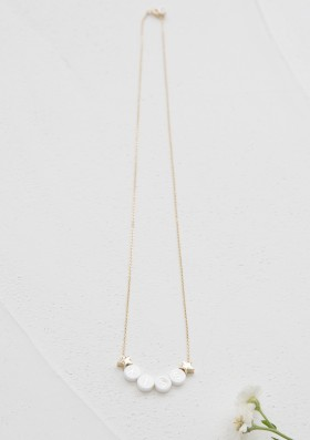 ceramic + 2 gold stars long necklace