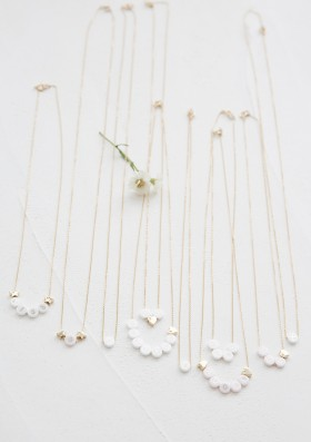 ceramic + 2 gold hearts long necklace