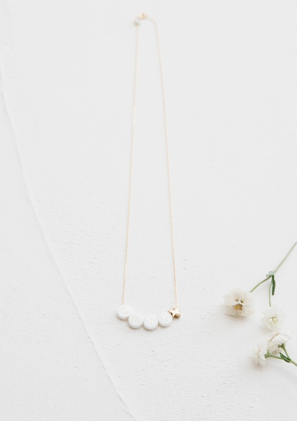 ceramic long necklace + 1 gold and diamond star