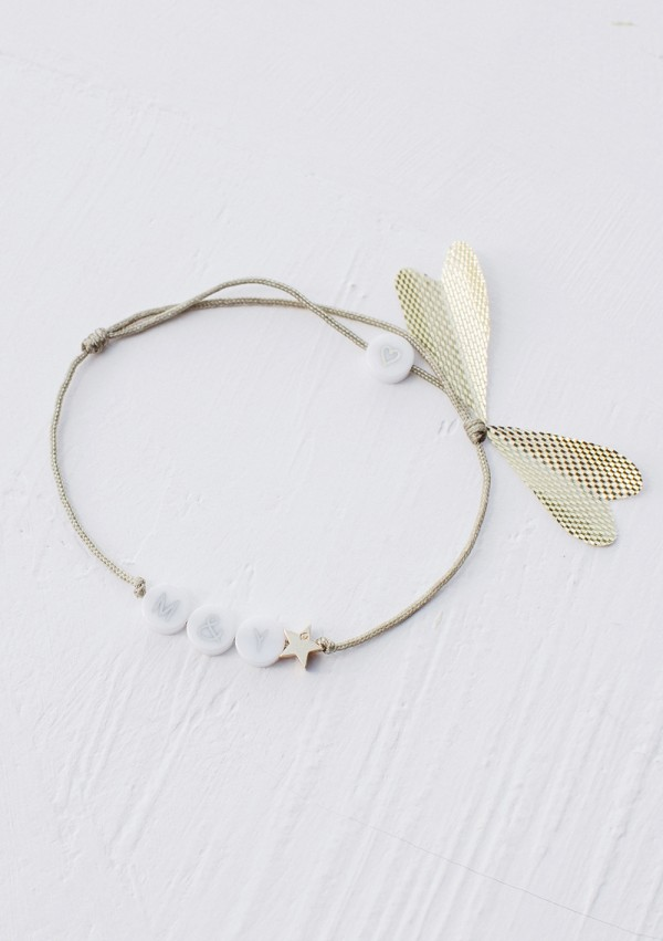 ceramic bracelet with 1 plated gold star