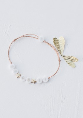 ceramic bracelet with 2 plated gold stars