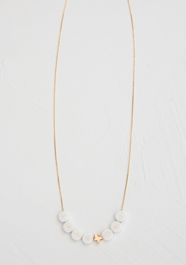 ceramic + 1 gold star long necklace